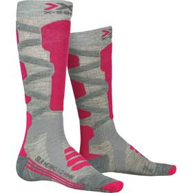X-Socks Ski 4.0 Chaussettes Mérinos Soie Femme, grey melange/pink